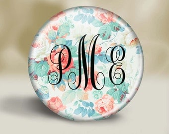 Personalized Victorian Floral Pattern pocket mirror, Bridesmaid gift, Wedding favor, Small gift, Thank you, Coworker, Peach, Aqua, Teal