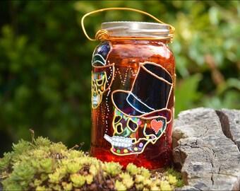 Sugar Skull Candle Lantern / Steampunk Skulls in Top Hats / Gothic Halloween Decor / Day of the Dead / Dia de los Muertas / Halloween Party