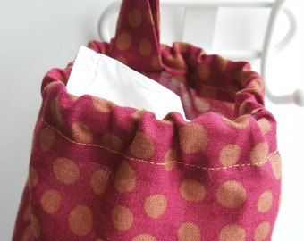 Plastic Bag Holder / Bag Storage - Maroon with Bronze Polka Dot Fabric