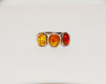 Free Shipping Vintage Sterling Three Color Amber size 7 Ring.