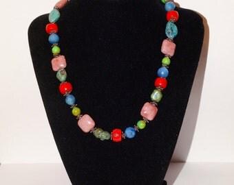 "VGE. Sterling Genuine multicolor Stone 18"" Necklace."