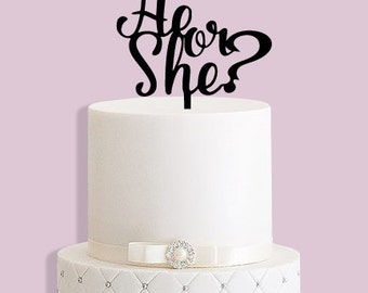 He or She Baby Shower Cake Topper