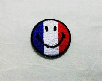 France Smiley Face Iron on Patch-France Flag Applique Embroidered Iron on Patch/France Flag  Patch