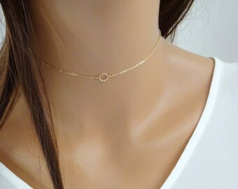 Simple Choker Necklace, Circle Chain Choker, Dainty Choker in 14kt Gold Filled, Tattoo necklace