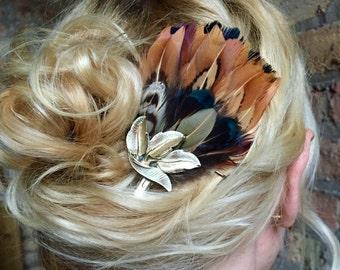 Pheasant Feather Hair Clip with Silver Leaf Piece