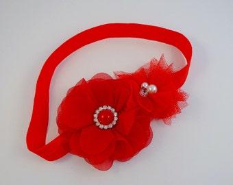 Red Headband, Baby Headband, Girls Headband, Flower Headband, Newborn Headband, Headbands, Cake Smash Outfit, Photography prop