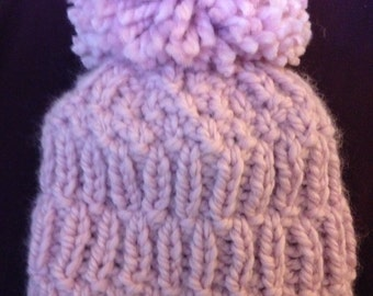 Chunk knit hat with Giant pom pom