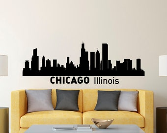 Chicago skyline wall decal etsy for Chicago skyline wall mural