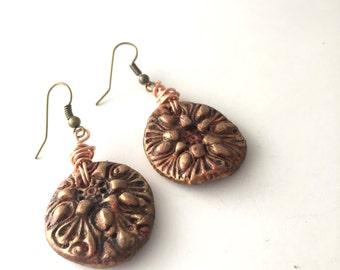 Boho Flower Earrings,Boho Earrings,Flower Earrings, Earthy Jewelry, Tribal Earrings, Rustic Earrings,Earthy By Design Jewelry, Clay Earrings