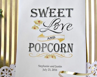 Personalized Wedding Popcorn Bar Bags - Popcorn Bags Wedding - Popcorn Bar - Sweet Love -  24 BAGS -  POP-03