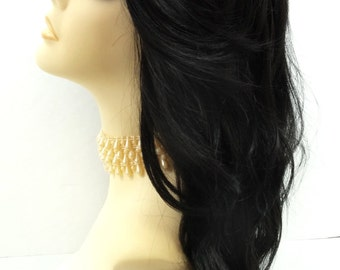 Long 18 inch Off-Black Wavy Wig with Premium Heat Resistant Fiber. [30-278-Monday-1B]