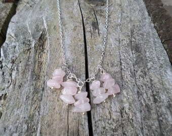 Rose Quartz Nugget Beads on Sterling Silver Chain Necklace