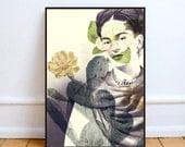 "Frida Kahlo art print, surreal art print, cactus wall art, Dada art print, Frida print poster, mixed media collage art, cactus art - ""Frida"""