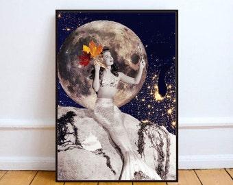 "Mermaid art print, moon art, mixed media collage art, home decor wall art, space print, surreal art print - ""Mirror, my beautiful mirror?""."