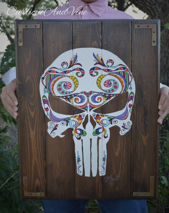 The Punisher-Marvel-Pallet Wall Art-Sugar Skull-Punisher-Rustic Barnwood Decor-Man Cave-USMC-Boho-Shabby-Reclaimed Wood-Hand Painted