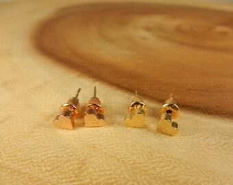 Heart Earrings, Small Studs, Rose Gold Earrings, 18k Gold Studs, Romantic Jewellery, Love Heart Earrings