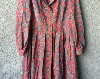 Red and grey paisley dress