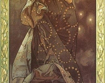 The Moon, Vintage Alphonse Mucha Art Nouveau Poster Reproduction Rolled CANVAS ART PRINT 17x38 in.