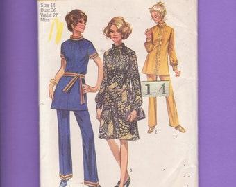 1970's Mod, Gathered High Neckline Flared Dress, Tunic, Pants/ Simplicity 9085 Women's Long Sleeve dress, Top Sewing Pattern size 14 bust 36