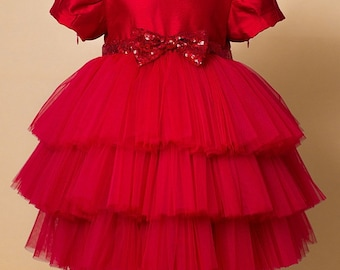 Red Tutu Baby Dress Red Candy, Baby Tulle Dress, Baby Girl Red Tutu Dress, First Birthday Red Dress, Birthday Outfit
