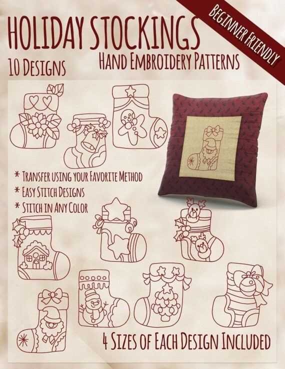 Sale hand embroidery patterns redwork designs holiday