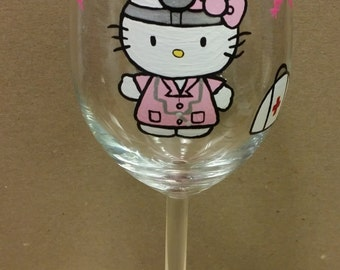 Doctor Kitty hand painted wine glass