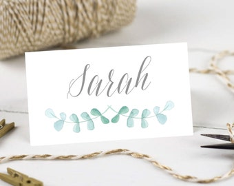 Personalised Printable, Wedding Place Cards,Name Cards, Green Floral Collection - WCB72
