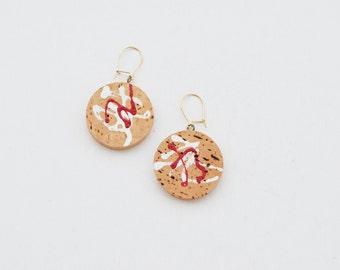 Vintage Cork Earrings, Natural Earrings, Handpainted Earrings, Nature Earrings, Dangle Earrings, Vintage Earrings,  Round Earrings