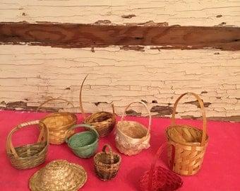 Set of 9 Vintage Woven Mini Baskets