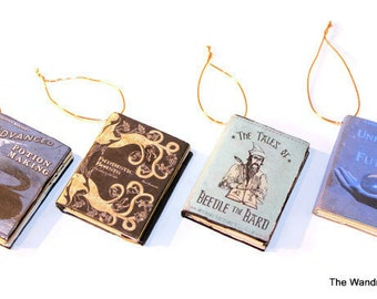 Unofficial HP Book Ornaments (Christmas tree, Halloween tree, potter gift)