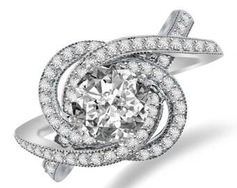 Forever One Moissanite & Diamond Swirl Halo Engagement Ring 14k White Gold - Moissanite Engagement Rings for Women - Unique - Modern Rings