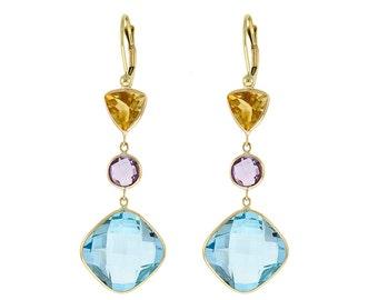 Citrine, Amethyst, & Blue Topaz Drop Earrings 14k Yellow Gold - Gemstone Earrings - Gemstone Jewelry - For Women