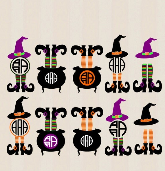 Halloween Design Witch Legs In Cauldron By JenCraftDesigns