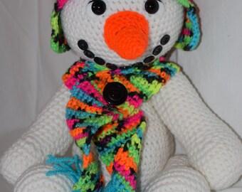 """Sweet 14"""" Crochet Snowman"""