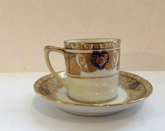 Noritake Tea Set Tea Cup and Saucer Blue and Gold