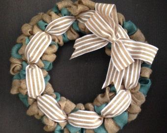 Cottage Chic Burlap Wreath, Country Blue Burlap Wreath, Year Round Wreath