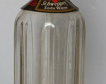 Vintage Glass Schweppes Soda Water (seltzer bottle or siphon) with syphon.