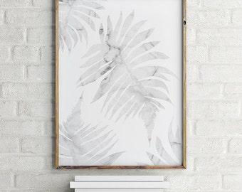 Botanical Print, Marble Art, Cararra Marble Poster, Nature Art Print, Leaf Print, Modern Marble Decor Print Minimalist Art Modern Home Decor