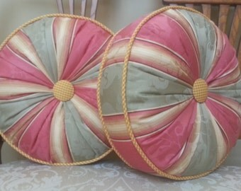 A Pair of Decorative Round Pillows with P. Kaufman Designer Fabric / Ready to Ship!
