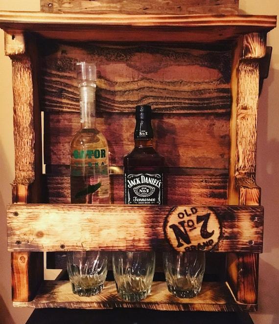 Wood Whisky Bottle Holder Ideas: Wood Pallet Whiskey Racks By WoodPalletTreasures On Etsy
