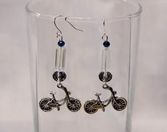 Silver Bike Earrings - Pewter Charm Earrings - Bicycle Earrings - Beaded Bike Earrings - Cycling Jewelry