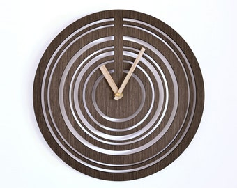Modern wall clock | Wooden wall clock |  geometric clock | laser cut wall clock | veneer wall clock| wenge wall clock | decorative clock |