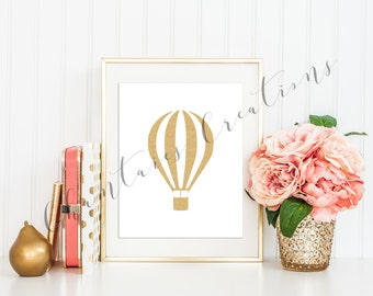 Hot Air Balloon Gold Glitter Printable Wall Art. Nursery Decor Wall Art.