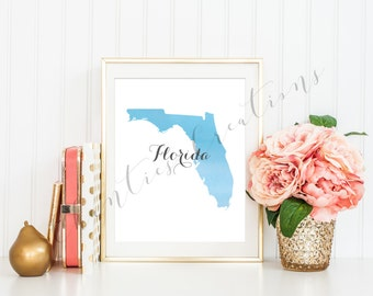Florida State Blue Ombre Watercolor Printable Art. Florida State Love Printable. Florida Silhouette Outline Watercolor State.