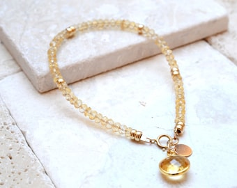 Citrine Bracelet in Gold, Citrine jewelry, Gift For Wife, Gemstone jewellery, Beaded yellow Citrine Jewellery, 14K gold Filled, Gift For Mum