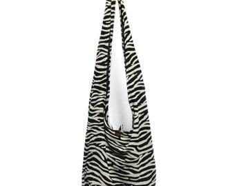 Zebra Print Sling Shoulder Bag Cross Body Bag Cotton Hippie Boho Style Handmade Black White