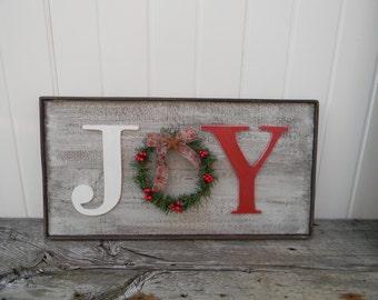 Rustic Joy sign, Country Christmas decor, Christmas mantle decor, Barn wood look Christmas sign