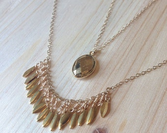 Chrysalis Necklace - gold plate wire wrapped scales necklace