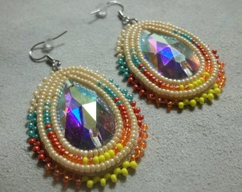 Beige glazed luster earrings