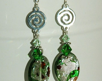 Crystal and silver-foil Earrings, green